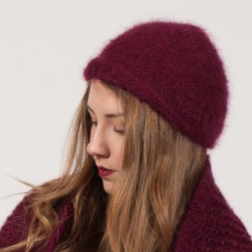 Bonnet en laine mohair et soie tricoté main