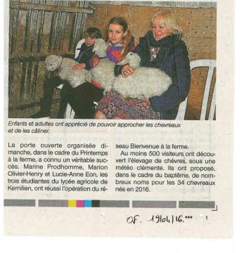 Ouest France - Printemps à la ferme - avril 2015