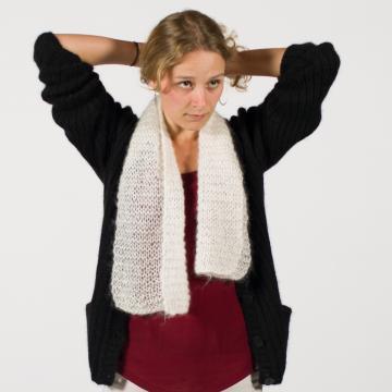 Écharpe mohair et soie tricotée main