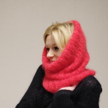 Snood laine mohair tricoté main en France