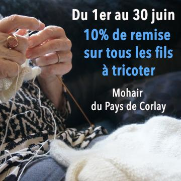 10% de remise sur nos fils à tricoter