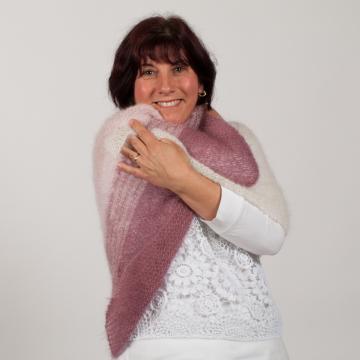 Chèche tricoté main en mohair et soie