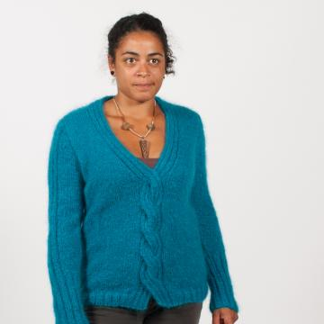 Pull à torsades en pur mohair, tricoté main