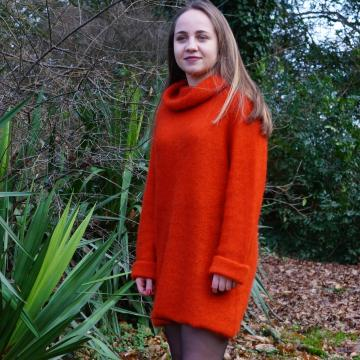 Robe pull femme mohair et soie - Mohair du Pays de Corlay