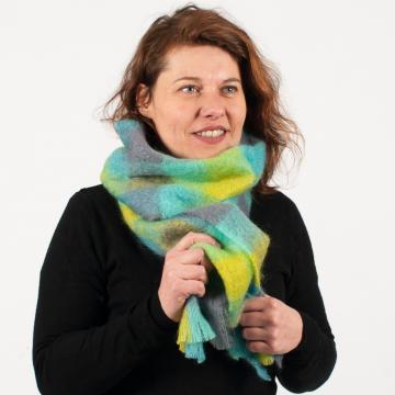 Grande écharpe tissée laine mohair et soie