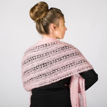 Étole ajourée tricotée main mohair et soie