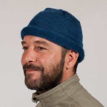 Bonnet mohair et soie roulotté