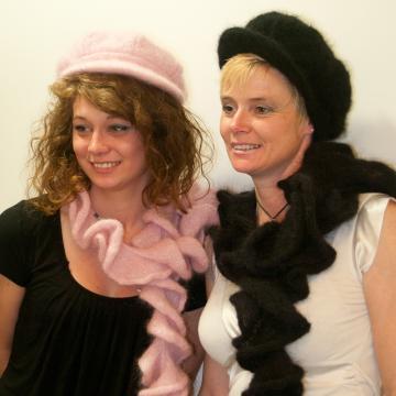 Écharpe tourbillon mohair et soie tricotée main