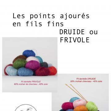 Modèles tricot Les points en fils DRUIDE ou FRIVOLE