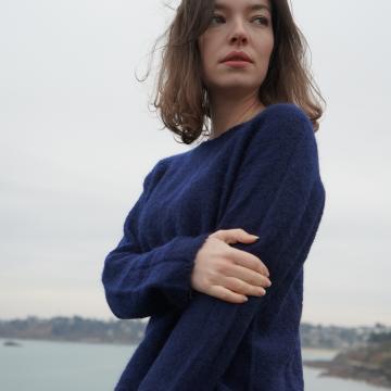 Pull tunique femme mohair et soie
