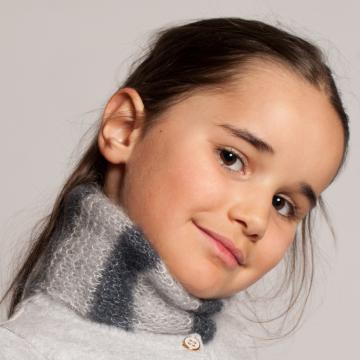 Snood laine mohair et soie tricoté main en France