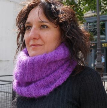 Snood laine mohair tricoté main en France