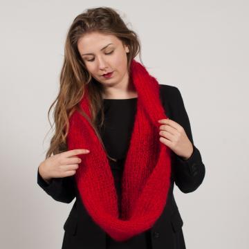snood écharpe tricotée côtes