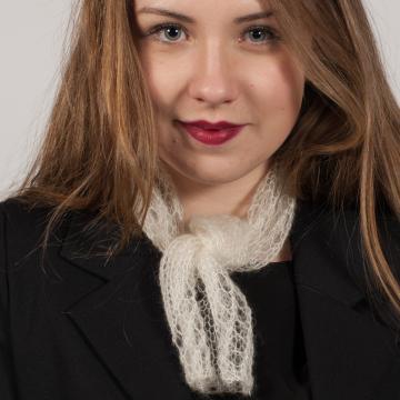 Mini tour de cou tricoté en laine mohair et soie