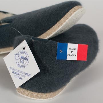 Pantoufle charentaises authentique en mohair et laine Made in France