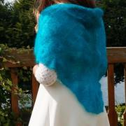 Châle dentelle tricoté main