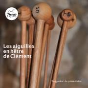 Jeu de 2 aiguilles artisanales en bois de hêtre du Jura