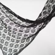 """Écharpe """"plume"""" tricotée noir mohair et soie"""
