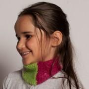 Snood enfant mohair et soie tricoté main
