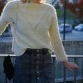 Pull écru tricot main en mohair et soie