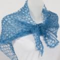 Carré tricoté mohair et soie Couleur Bleuet