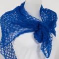 Carré tricoté mohair et soie Couleur Bleu de Suède