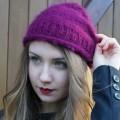 Bonnet en mohair et soie tricoté main