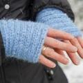 Mitaines mohair tricotées à la main