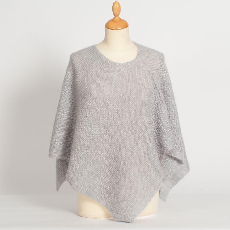 Poncho tricoté mohair et soie