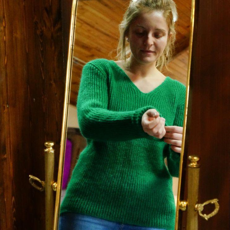 Pull femme tricot côtes anglaises en mohair et soie
