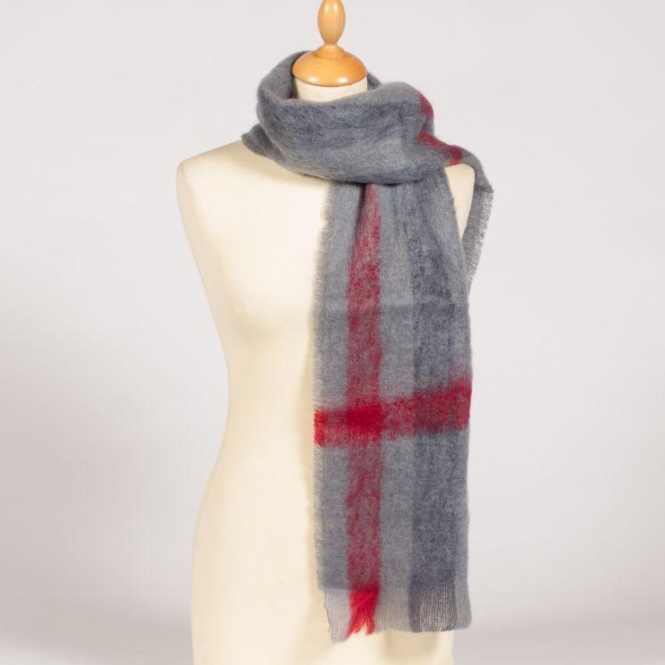 ... Couleur écossais gris rayé rubis Petite écharpe tissée mohair ... ad6b910e697
