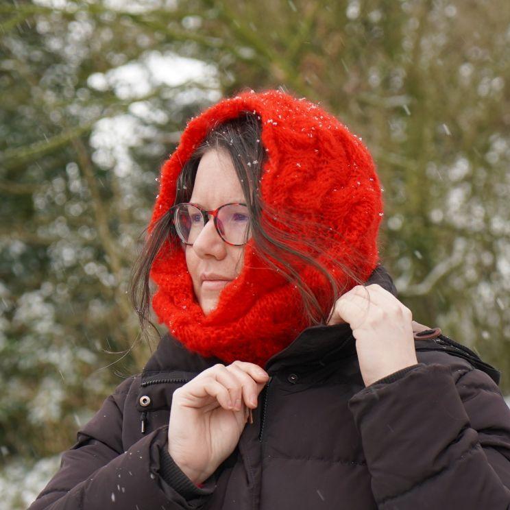 Col pur mohair à torsades tricoté main