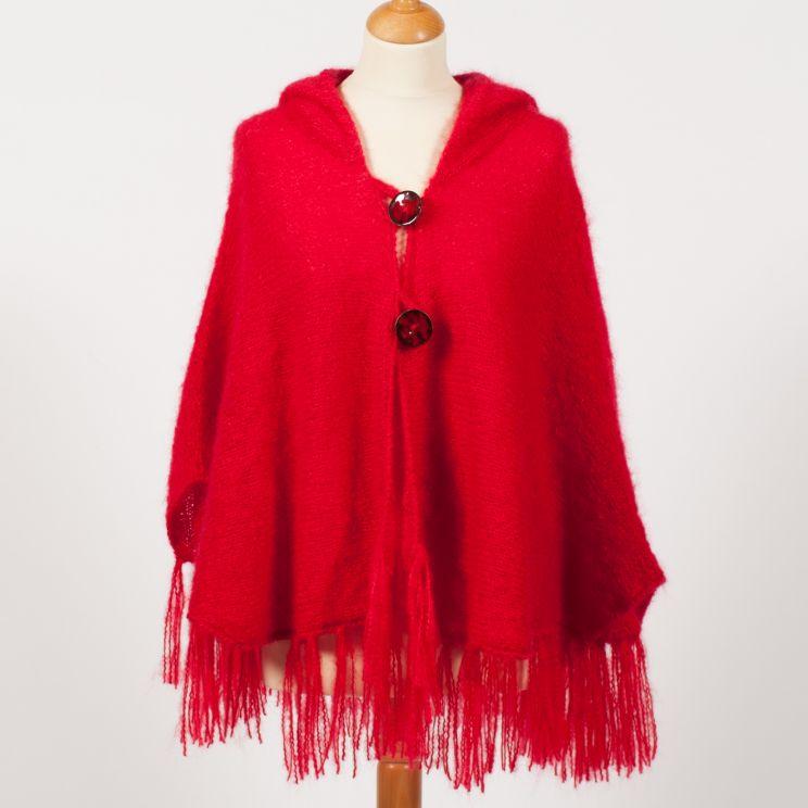 Cape mohair tricotée main à capuche