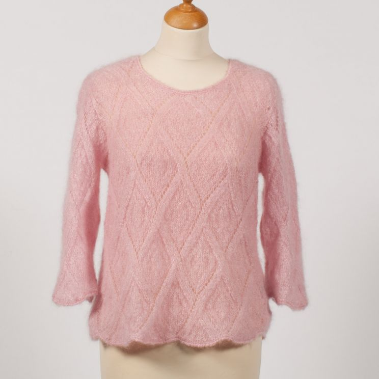 Pull tricot main en mohair et soie maille jersey
