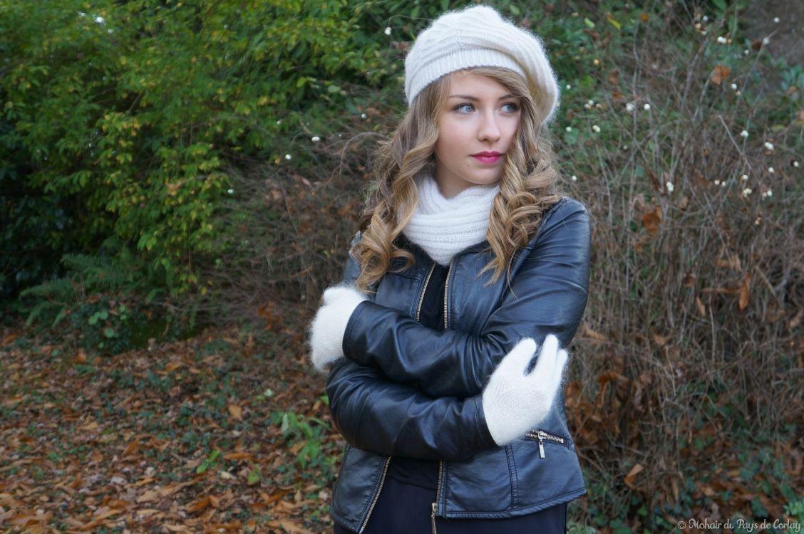 Miss 15/17 Bretagne 2015, bérèt, snood et gants en mohair