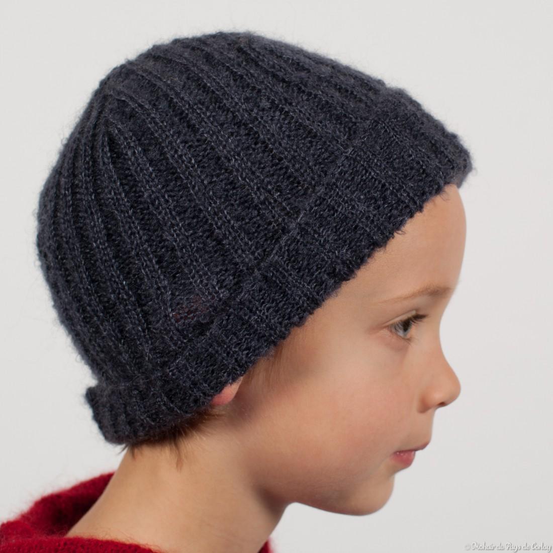 quantité limitée Livraison gratuite dans le monde entier style unique Bonnet côtes 2/2 enfant mohair et soie